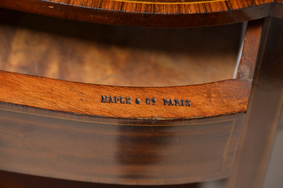 Unusual Pair of Victorian Mahogany Maple And Co Paris Antique Side Tables