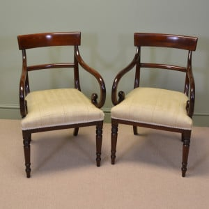 Elegant Pair of Regency mahogany Antique Desk / Side / Carver Chairs