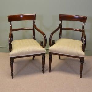 Elegant Pair of Regency mahogany Antique Desk / Side / Carver Chairs