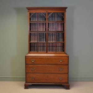 Unusual Georgian Mahogany Slim Antique Bookcase on Chest