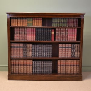 Large Victorian Walnut Antique Open Bookcase