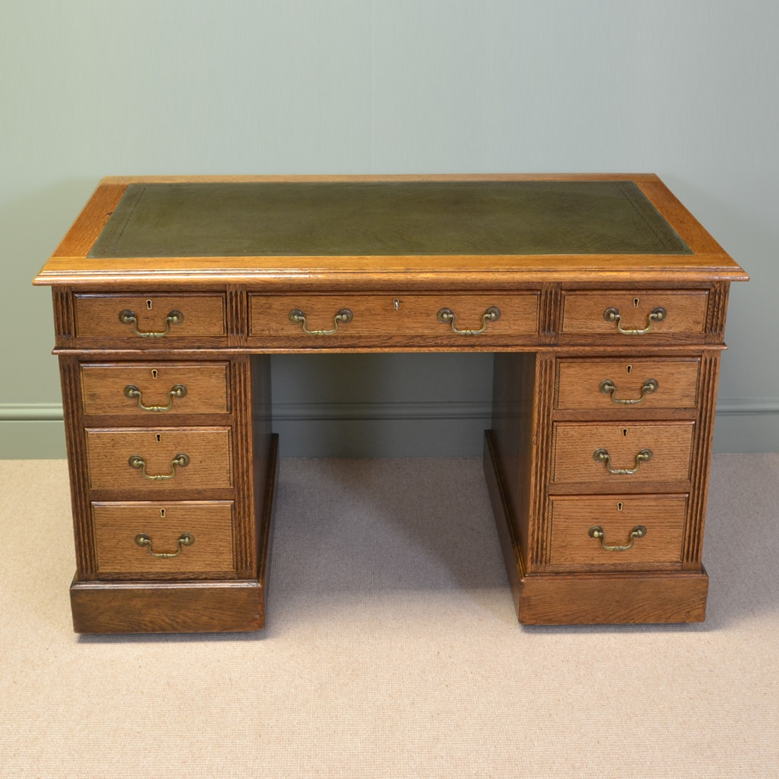 Impressive Edwardian Golden Oak Antique Pedestal Desk