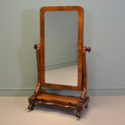Fine Figured Mahogany Antique Victorian Cheval Mirror of Lovely Small Proportions