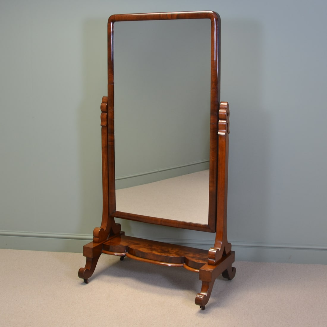 Spectacular early victorian antique large figured mahogany for Cheval mirror