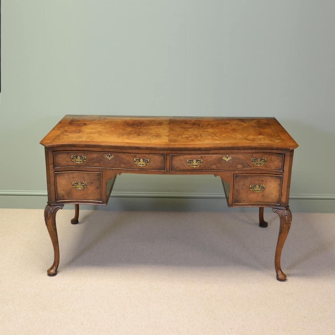 Large Figured Walnut Antique Edwardian Writing Desk