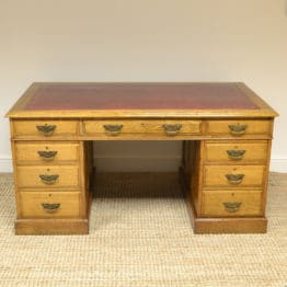 Impressive Large Golden Oak Edwardian Office Antique Pedestal Desk