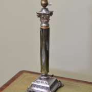 Large Edwardian French Silver Gilt and Porcelain Lamp Base.