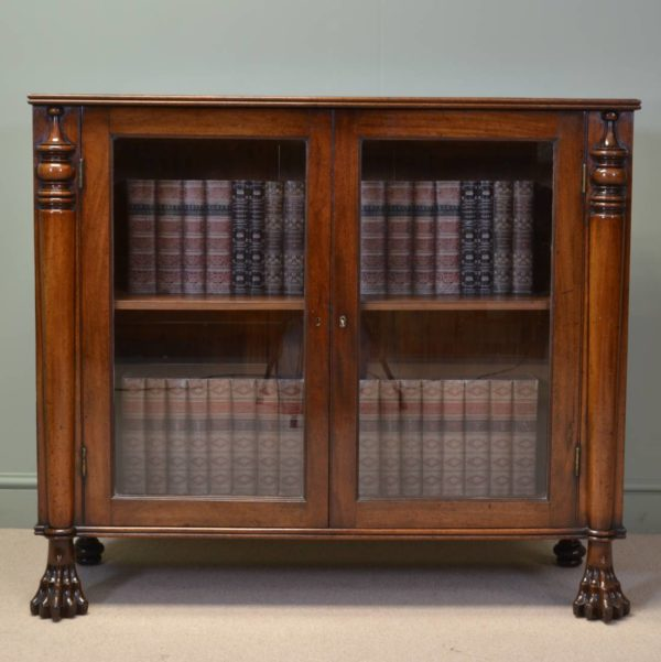 Spectacular Georgian Mahogany Antique Bookcase with Claw Feet