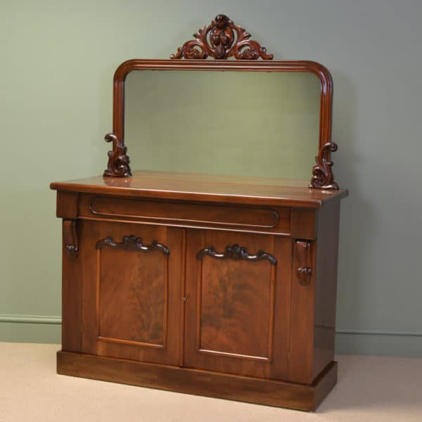 Splendid Figured Mahogany Victorian Antique Mirrored Back Antique Chiffonier / Cupboard