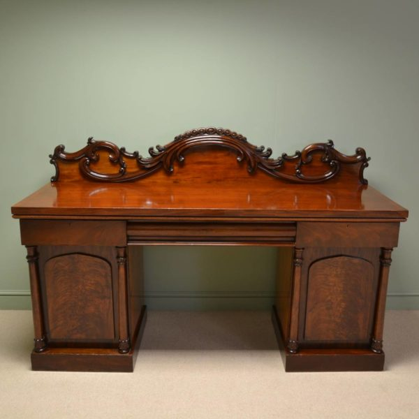 Magnificent Large Figured Mahogany Antique William IV Pedestal Sideboard