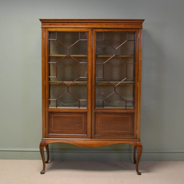 Spectacular Maple & Co Antique Edwardian Mahogany Inlaid Display Cabinet / Bookcase.