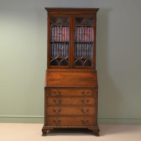 Quality Figured Walnut Antique Bureau Bookcase with Unusual Fitted Interior