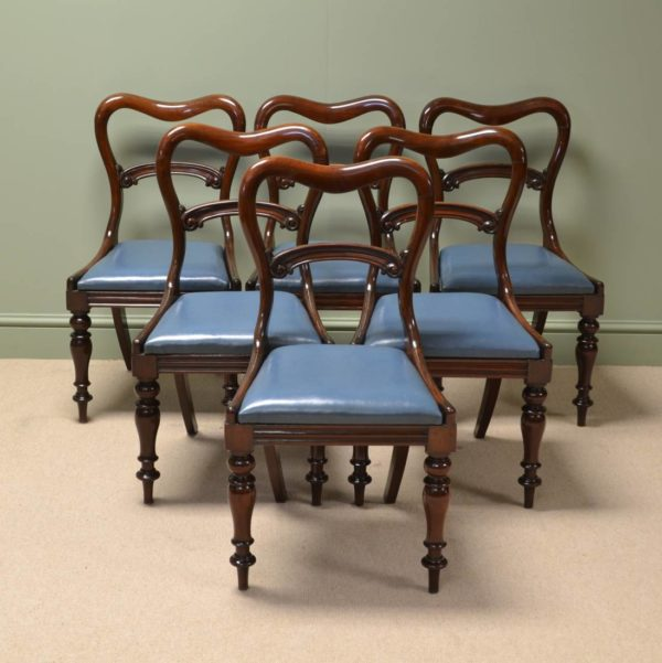 Elegant Rich Mahogany Antique Victorian Dining Chairs