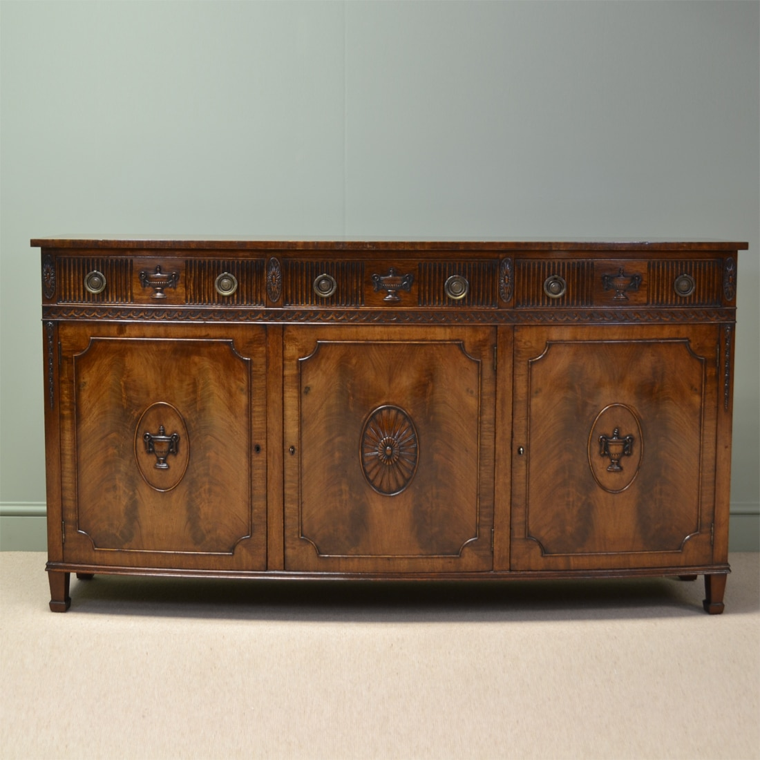 Striking Quality Antique Mahogany Edwardian Bow Fronted Sideboard by S & H Jewell