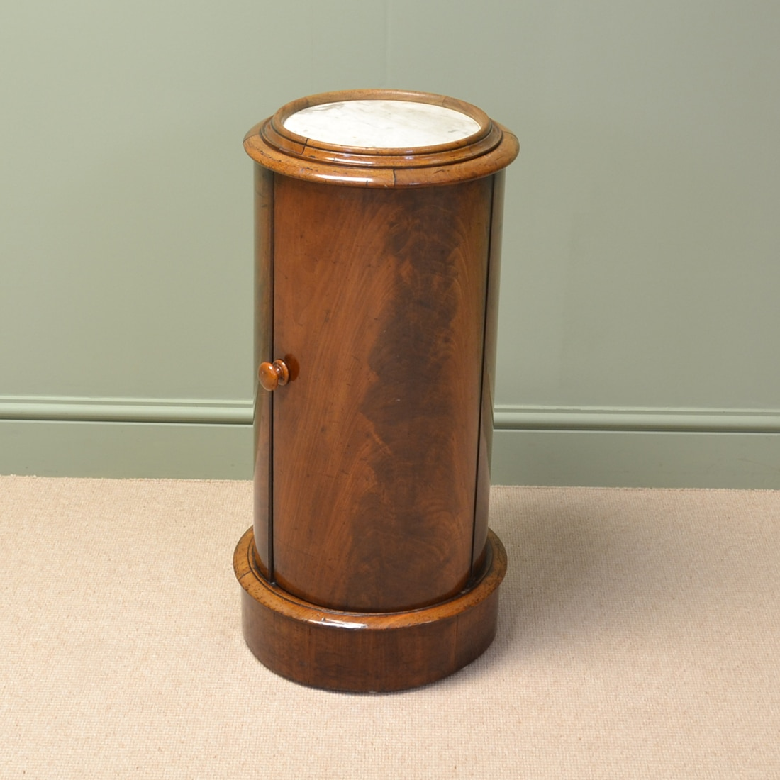 Victorian Flamed Mahogany Cylinder Pot Cupboard