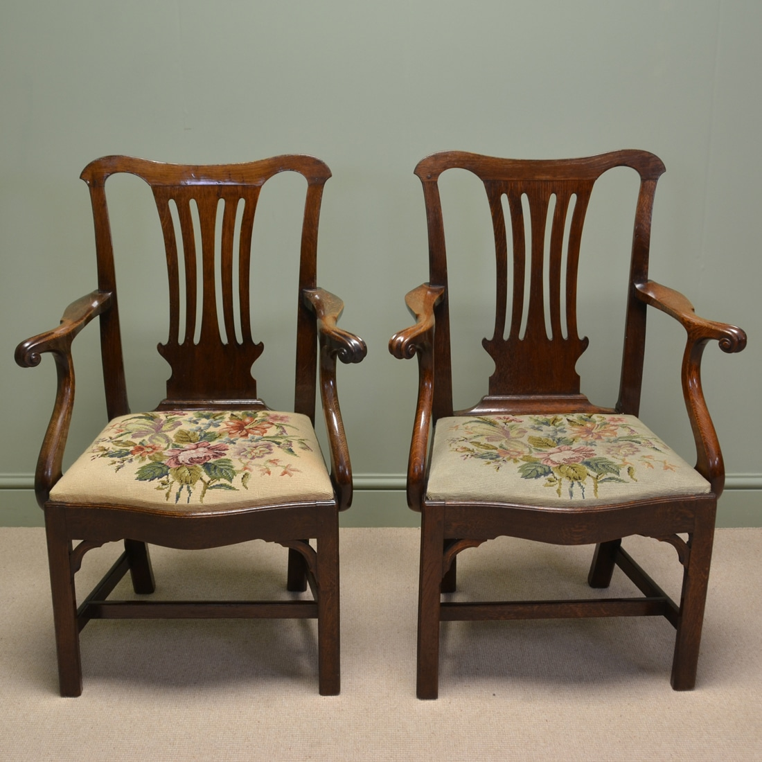 Pair of Georgian Oak Antique Carver Arm Chairs