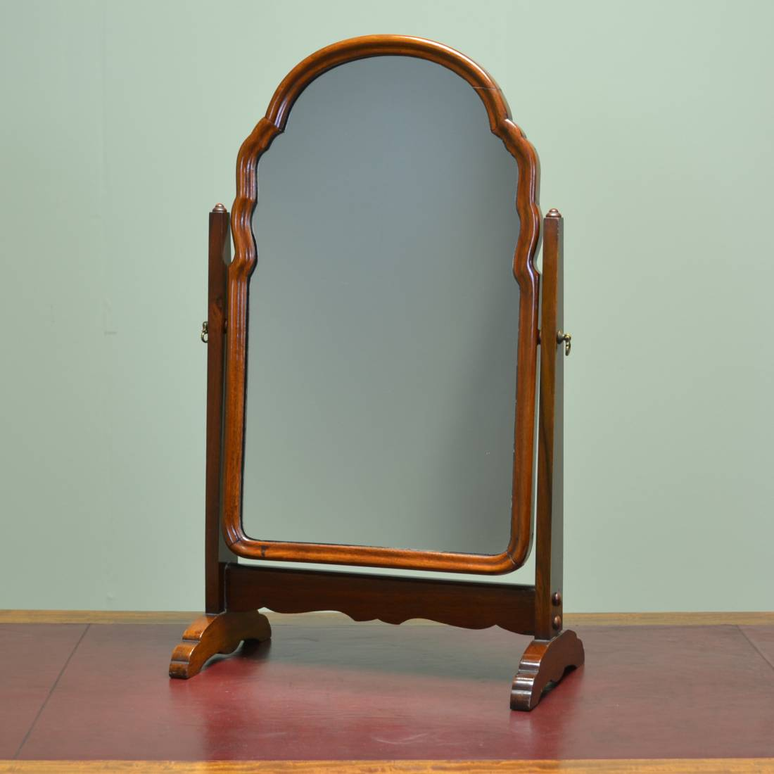 Antique dressing table with mirror - Small Elegant Edwardian Walnut Antique Dressing Table Mirror