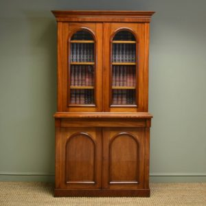 Sensational Mellow Mahogany Victorian Antique Bookcase on Cupboard