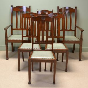 Spectacular Quality Set Of Six Walnut Arts And Crafts Victorian Dining Chairs