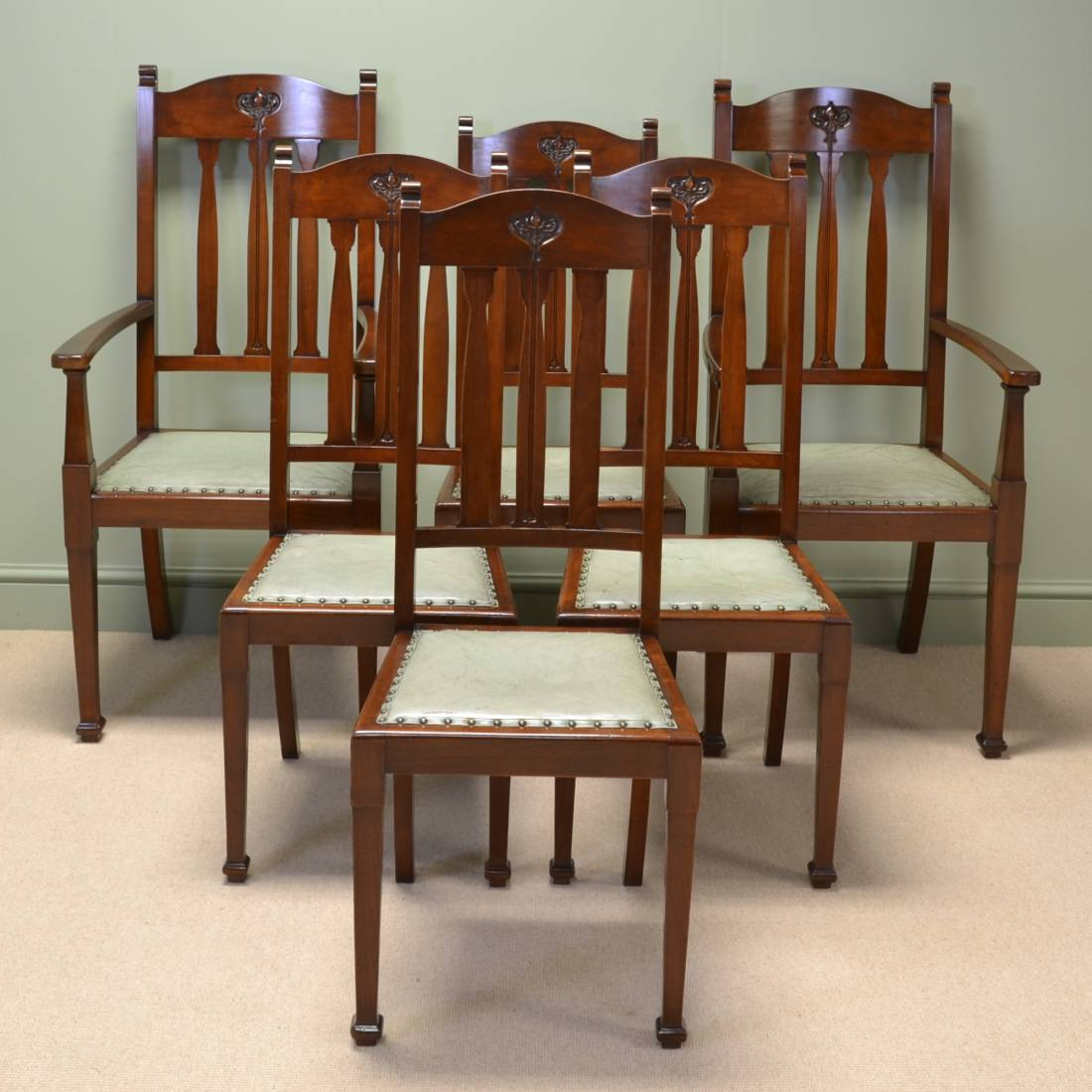 Antique victorian dining chairs - Spectacular Quality Set Of Six Walnut Arts And Crafts Victorian Dining Chairs