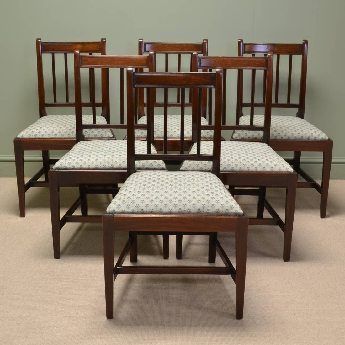 Spectacular Set of Six Georgian Figured Mahogany Antique Dining Chairs