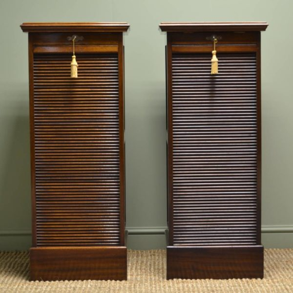 Rare Pair of Edwardian Walnut Antique Tambour Front Office Cabinets