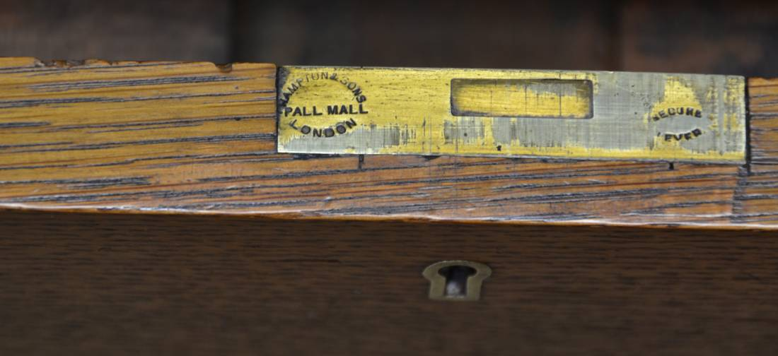 Hampton and Sons Pall Mall London on the lock of desk