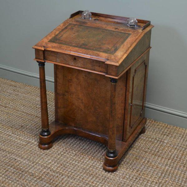 Stunning Victorian Figured Burr Walnut Antique Davenport / Writing Desk