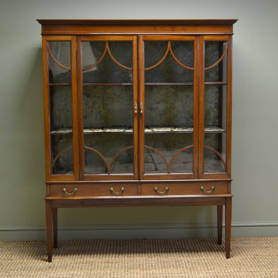 Spectacular edwardian inlaid mahogany antique display for Antique display cabinet