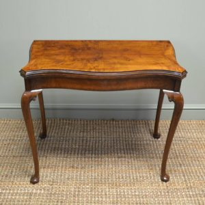 Fine Quality Figured Walnut Antique Card Table – Side Table