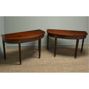 Pair of Georgian Figured Mahogany D End Side / Console Tables