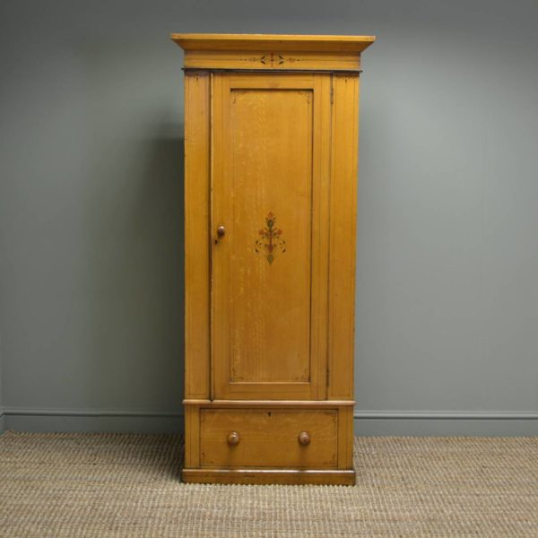 Small Victorian Antique Pine Wardrobe with the Original Paint Finish