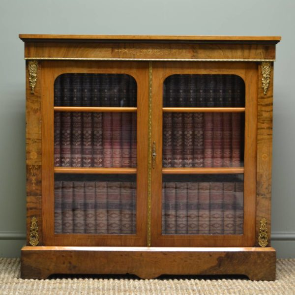 Fine Quality Figured Walnut Antique Victorian Pier Cabinet