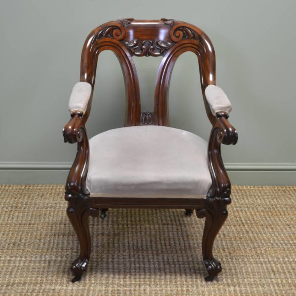 Magnificent Large Victorian Quality Mahogany Antique Desk / Side Chair