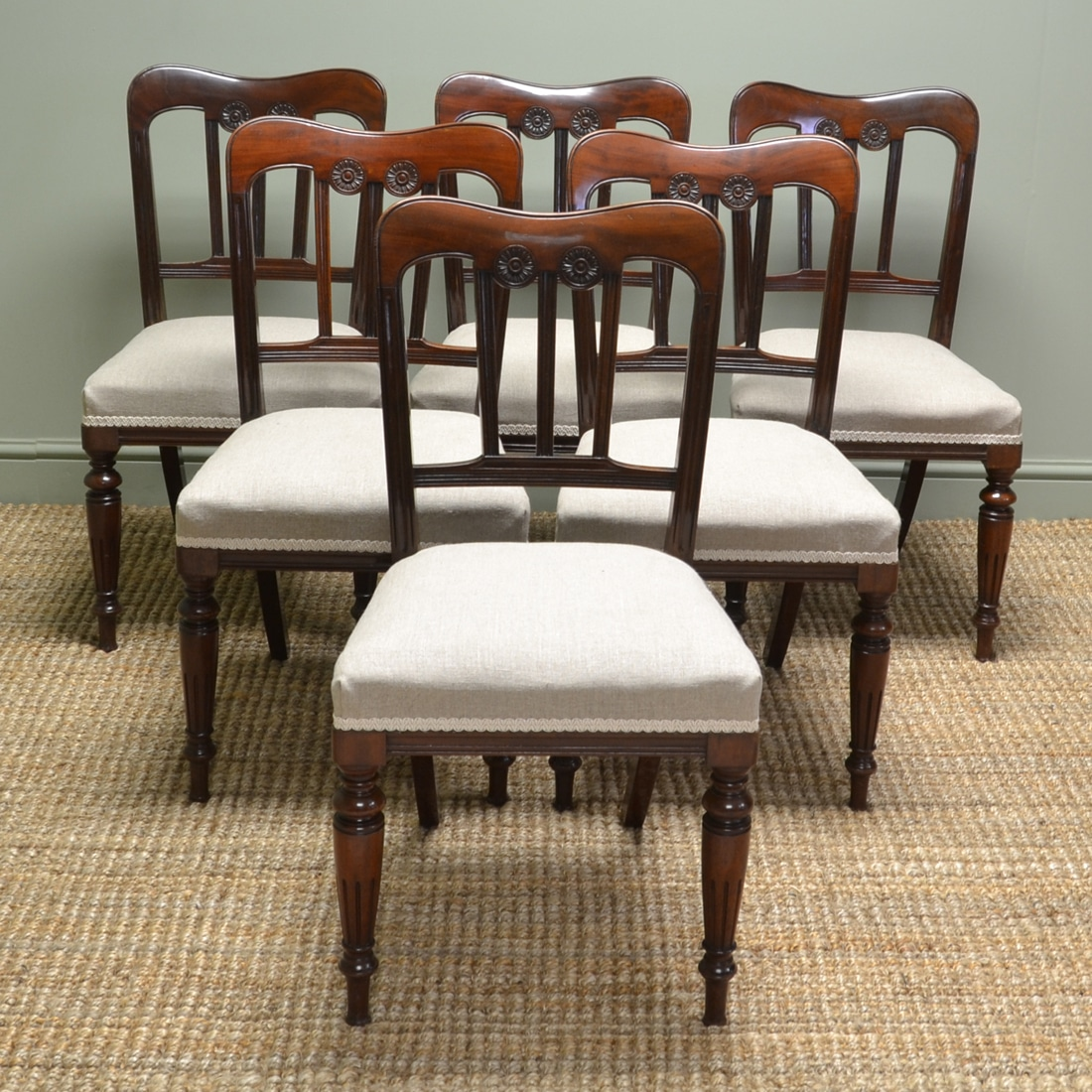 Spectacular Victorian Set of Six Walnut Antique Dining Chairs
