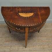 Elegant Inlaid Regency Walnut D End Antique Side Table
