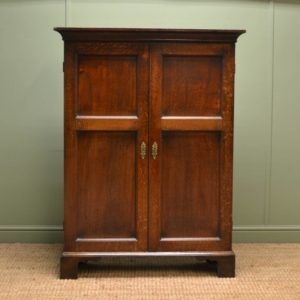 Unusual Slim Georgian Period Oak Antique Cupboard