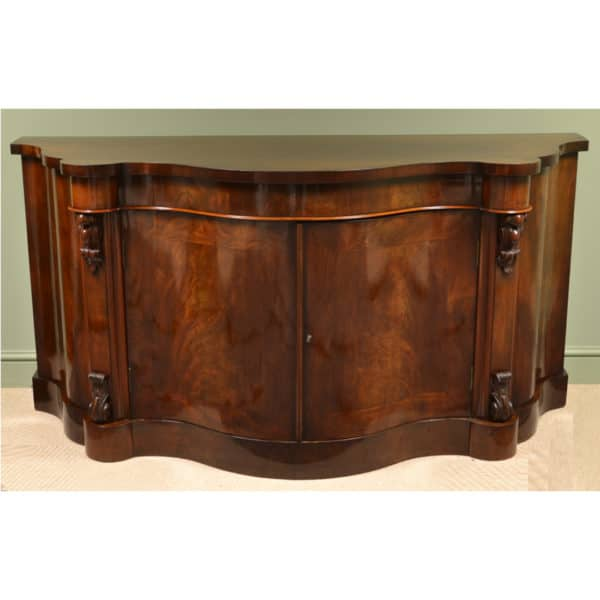 Magnificent Large Serpentine Fronted Antique Victorian Sideboard ...