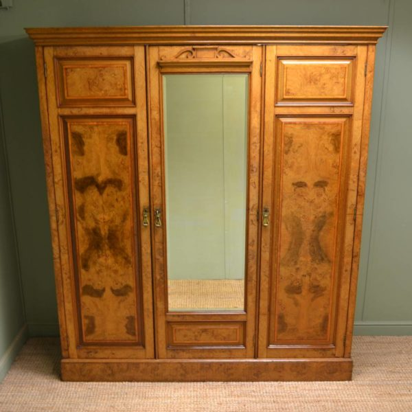 Spectacular, Impressive Figured Burr Pollard Oak Antique Triple Wardrobe By Johnson And Appleyards Sheffield.