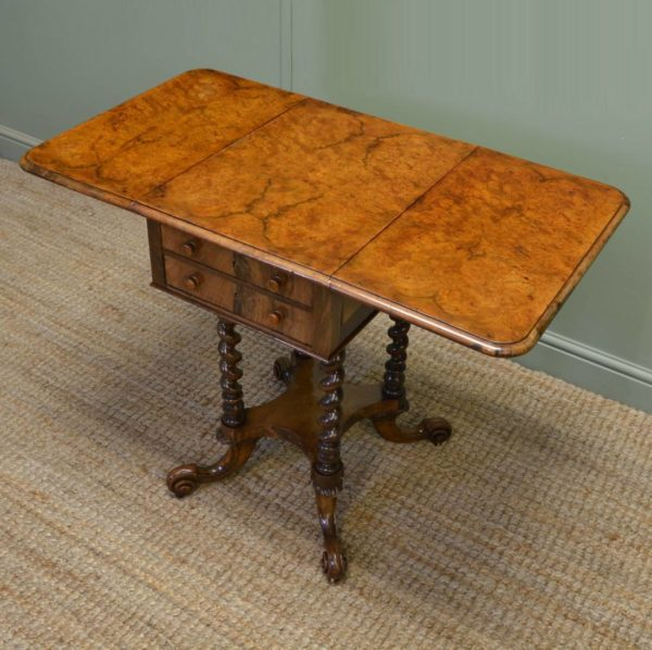 Remarkable Figured Walnut Small Drop Leaf Antique Victorian Side / Sofa Table