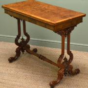 Fine Quality Burr Walnut Antique Card Table / Console Table