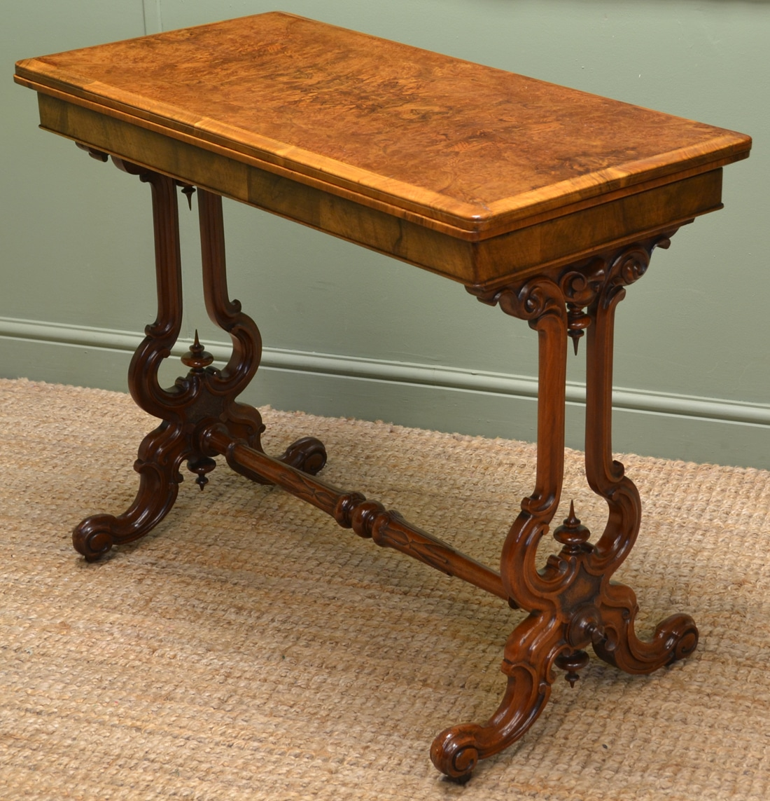 Fine quality burr walnut antique card table console for Sofa table antique
