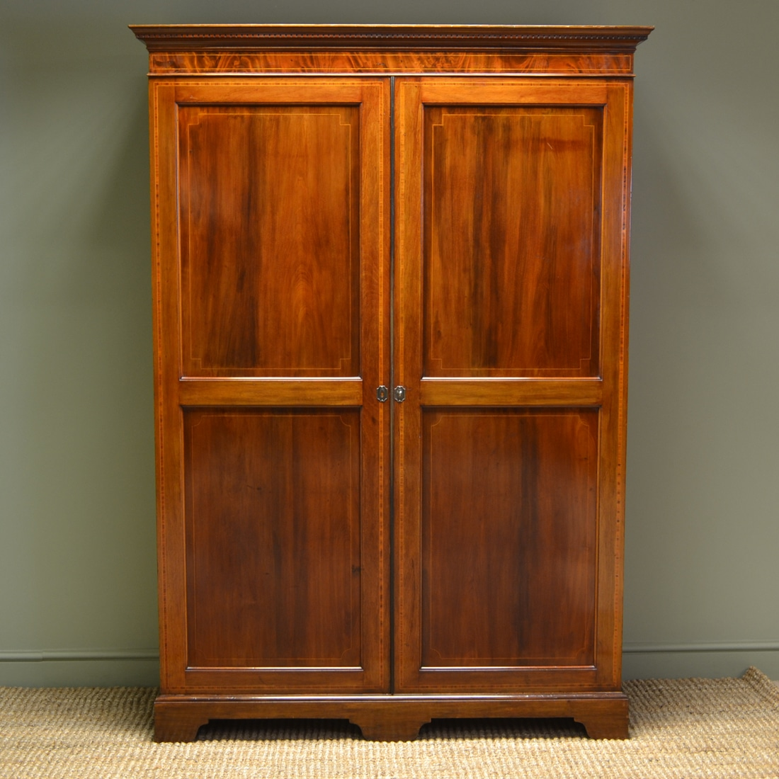 Large Edwardian Inlaid Mahogany Antique Double Wardrobe