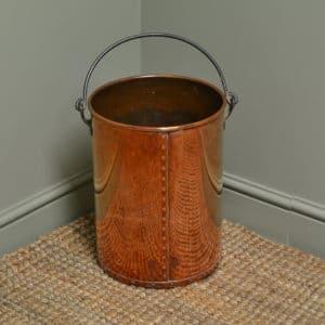 Decorative Antique Arts & Crafts Copper Log Bin / Coal Bucket