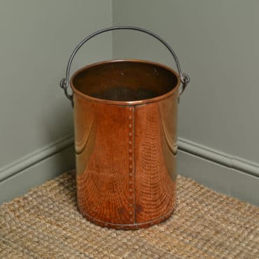Decorative Antique Arts & Crafts Copper Log Bin / Coal Bucket