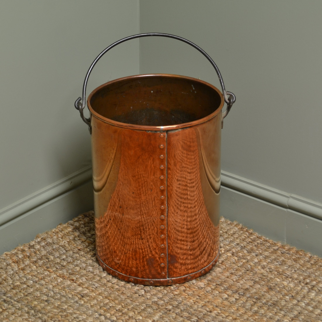 Log Crafts Decorative Antique Arts Crafts Copper Log Bin Coal Bucket