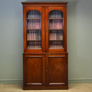 Victorian Mahogany Antique Glazed Bookcase on Cupboard