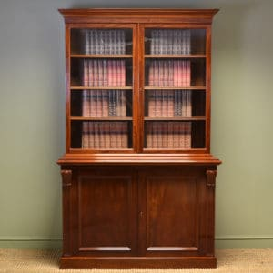 Spectacular Figured Mahogany Antique Victorian Bookcase on Cupboard