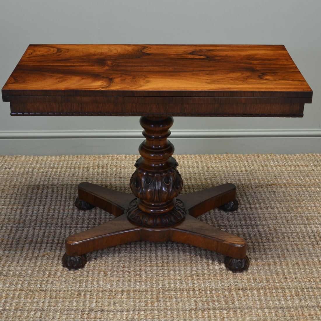William IV Antique Figured Rosewood Tea Table / Console Table.