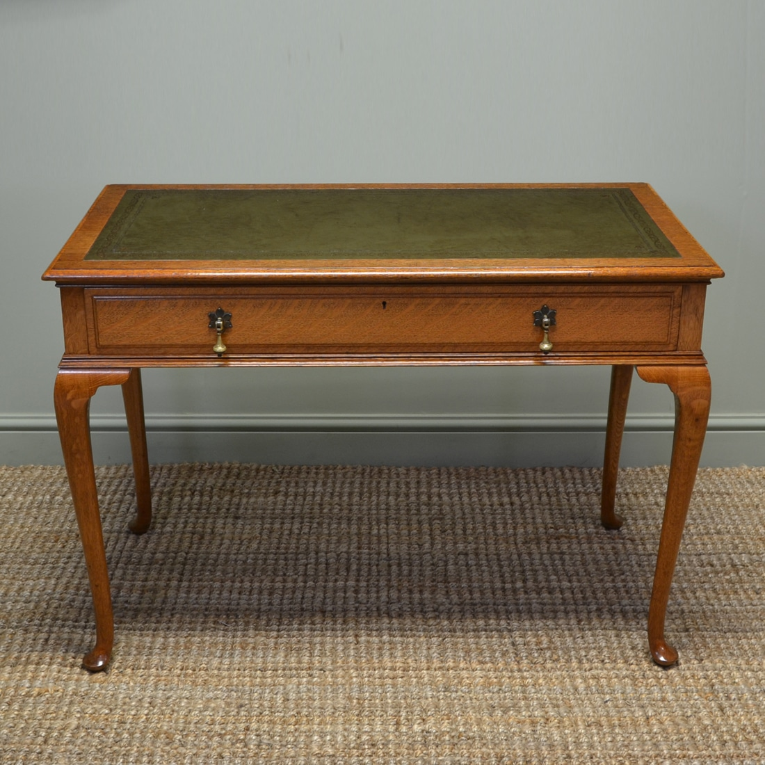 Quality Golden Oak Edwardian Antique Gillows Side / Writing Table